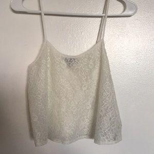 TopShop white lace crop top